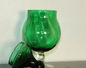 Forest Green Apothecary Jar Blown Glass clear Pedestal Base Vintage with emerald Ball on Cover Slightly Ribbed Design Inside
