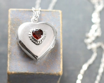Sterling Silver Heart Locket Necklace, Small Heart Shaped Locket with Raised Red Heart Twisted Rope Border - Candy Heart
