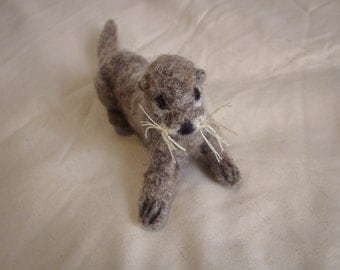 River Otter - Handmade from needle felted wool with thread whiskers