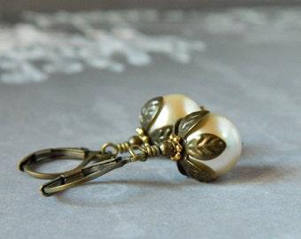 Petal Pearl Earrings Victorian Cream Dangles Rustic Bridesmaid Gifts Pearl Bridal Earrings Antique Brass Drops Bohemian Jewelry for Wedding