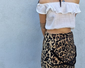 80s 90s Leopard Velvet Bondage Mini Skirt Small