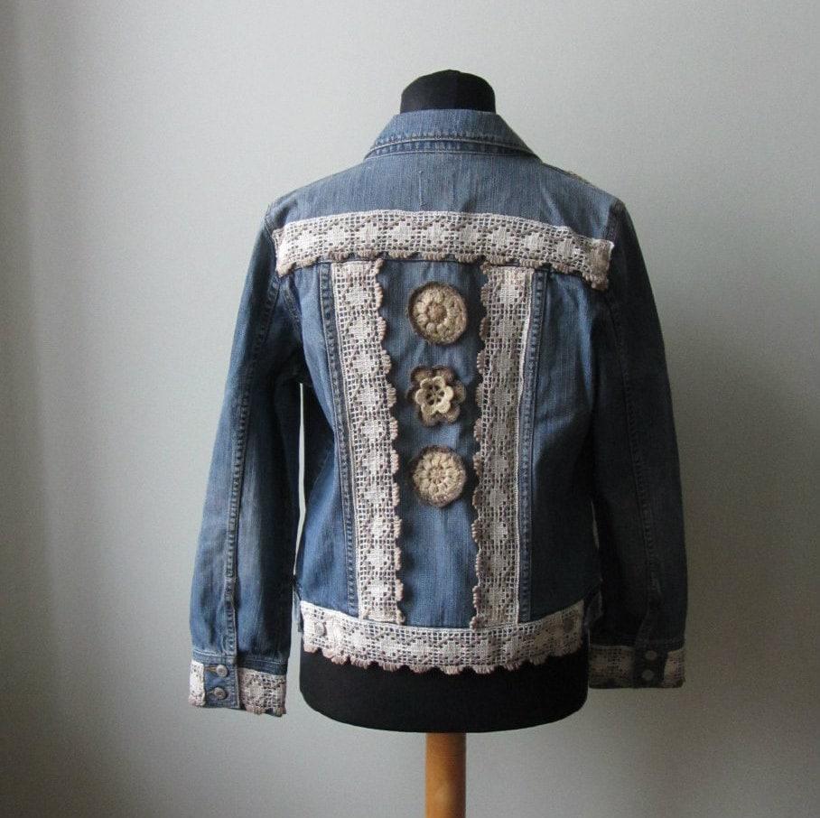 upcycled boho denim jacket denim jacket with lace and. Black Bedroom Furniture Sets. Home Design Ideas