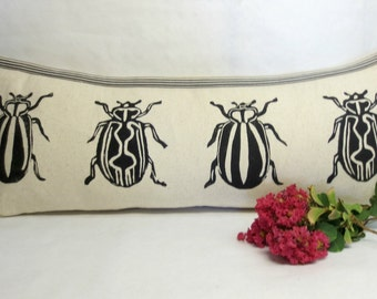 Insect Print Kidney Pillow - Decorative Insect Block Print Kidney Pillow