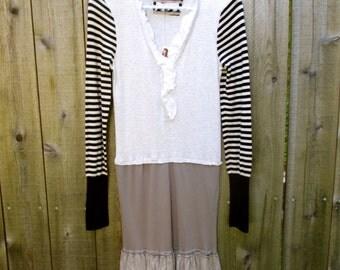 Upcycled Dress Tshirt Upcycled Clothing Reconstructed Handmade Knit Eco Friendly Stripes Grey Black Fun Print Ruffles M Upcycled Clothing