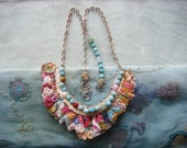 lucky day - a mixed media boho crochet necklace