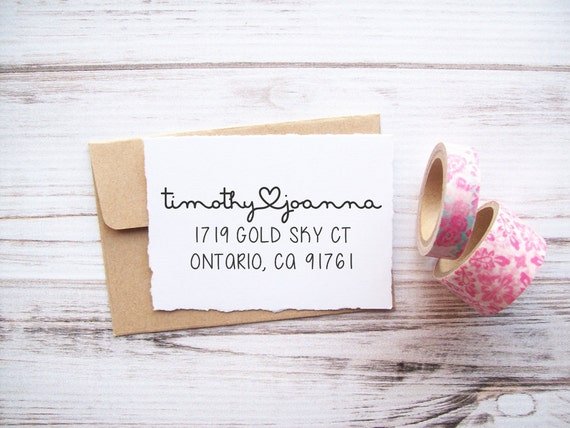 Return Address Stamp Heart Connecting Names , Valentines Wedding Love Newlyweds Housewarming
