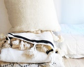 Large Moroccan POM POM pillow cover - wool natural undyed