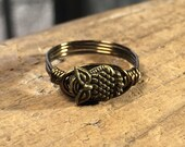 size 6.25 , 6 1/4 - Owl antique brass gold wire wrapped ring - metal animal bird bead totem women men unisex girl my soul can dance jewelry