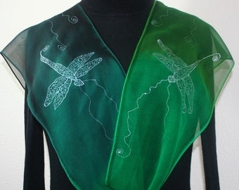 Green Hand Painted Silk Scarf SILVER DRAGONFLIES, by Silk Scarves Colorado, in 2 SIZES. Elegant Silk Gift, Christmas Gift