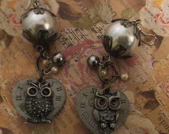 Owl Always Love You Charm Earrings Dangle Clock Face Steampunk Hippie