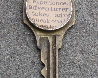 Vintage Key Pendant with Vintage Shell from Dictionary page- Adventurer