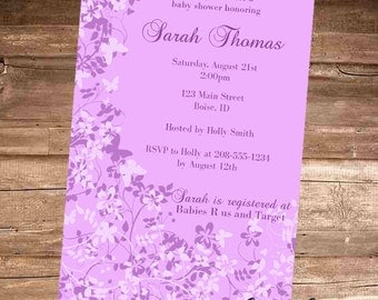 PURPLE BUTTERFLY Baby Shower Invitation - 4x6 Digital File