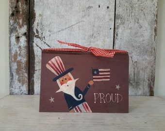 Uncle Sam, Americana, PROUD, Primitive Ameicana, Painted Uncle Sam, Country Decor, 4th of July, Patriotic, Memorial Day, Vintage Book