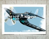 Airplane Art Print, F4U Corsair, WWII Military Airplane Art, Aviation Poster, Art for Boys, Airplane Gift, Wall Art, Warbird Art
