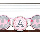 Elephant Baby Shower Banner Pink & Grey Chevron It's A Girl Banner Pink Elephant Banner Decoration Baby Sprinkle Baby Girl Nursery Wall Art