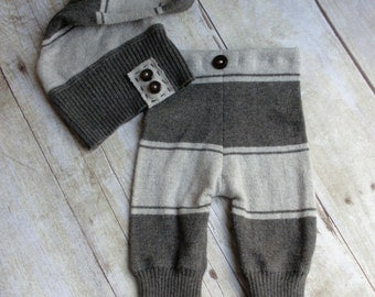 Newborn Boy Photo Prop Hat and Pant Set - Newborn Upcycled Outfit - Dark Brown Stripe - READY TO SHIP