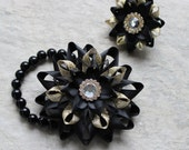 Prom Corsage and Boutonniere, Black and Gold Corsage, Wrist Corsage, Prom Flowers, Wedding Corsage Wrist Flowers, Lapel Flower, His and Hers