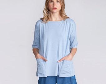 Women's top, light blue, t-shirt, oversized, shirt, 3/4 sleeves, blouse, summer top, loose fit, t-shirt, Crew Neck, with pockets, blue top