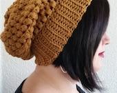 Crochet Puff Stitch Slouchy Beanie- Honey