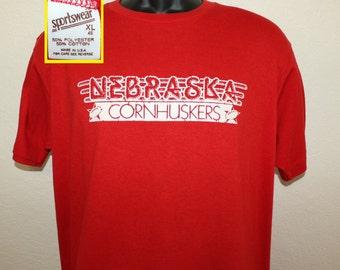Nebraska Cornhuskers football vintage t-shirt L red 80s Sportswear soft thin