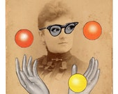 Original Collage on Antique Cabinet Card - Madame is Feeling Whimsical Today - Surreal Pop Surrealism Victorian Weird Atoms Geekery Glasses