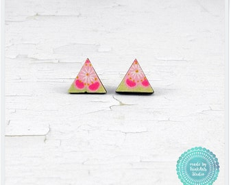 Pale Pink Cherry Blossom Japanese Chiyogami Paper Covered Wood Triangle Geometric Stud Earrings