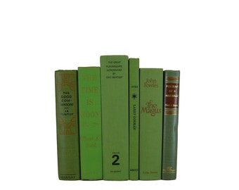 Green Bookshelf Decor, Decorative Books,  Green Vintage Books,  Home Decor , Old Books , Vintage Photo Props , Table Setting , Wedding Decor