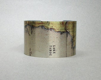 Cuff Bracelet Map Lake Tahoe California Vintage Unique Gift for Men or Women