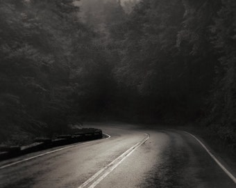 landscape photography, road, roads, dark, mountains, appalachia, black and white, Appalachian Mountain Road
