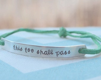 Skinny Hand Stamped Bracelet - You pick the phrase - Gift for Mom, Wife, Girlfriend, Sister, Best Friend, Husband, Boyfriend, Dad, Daddy