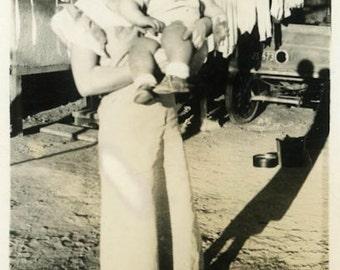 "Vintage Photo ""Laundry and Baby"" Snapshot Photo Old Antique Photo Black & White Photograph Found Photo Paper Ephemera Vernacular - 168"
