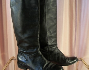 Black Leather Riding Boots, sz 6.5