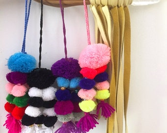 Pom Pom Bag Charms, Summer Swag, Bright Boho Tassel Keychain, Gypsy Style, Easy Summer Fashion Trend, 1 Piece, You Choose Color