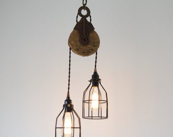 Barn Pulley Pendant, Industrial modern lighting