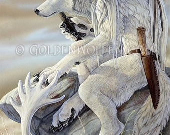 White Wolf with Spear on Tundra Print