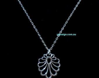 Art Deco Necklace, Art Nouveau Necklace, Sterling Silver Necklace, Charm Necklace, Fan Necklace, Scallop Necklace, Minimalist Jewelry, MUCHA