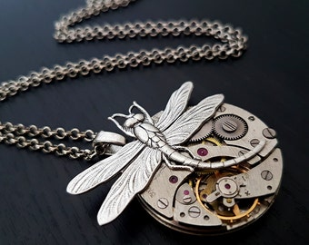 Vintage Pocket Watch with Curved Dragonfly - Steampunk Inspired Timeless Relic