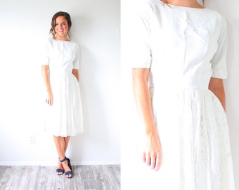 Vintage Wedding dress long sleeve lace // boho short wedding dress // tea length lace 1950's wedding dress // modest dress reception dress