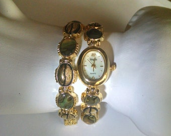 Watch and Bracelet Set by VanityFair Abalone Gold Tone Vintage Jewelry Jewellery Gift for Her