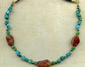 Carnelian Nuggets with Jade and Turquoise