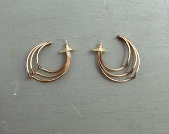 Gold Vintage Wave Hoops