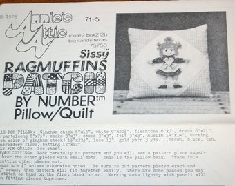 Vintage 1970s Patch by Number Quilting Craft Sewing Pattern Annies Attic 71-5 Sissy Ragmuffins Pillow and Quilt, Country Girl Applique Uncut