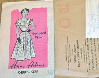 Vintage 1950s Mail Order Sewing Pattern 4897 Anne Adams Fit and Flare Sweetheart Neckline Dress Womens Misses Bust 34 Unprinted Factory Fold