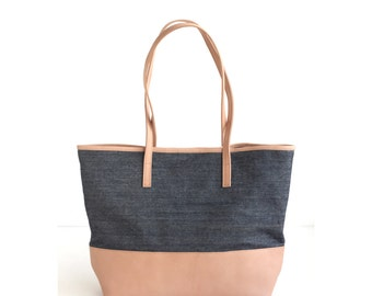 Leather Denim Tote Bag. Vegetable Tanned Leather. Dark Wash Denim. Raw Nude Leather. Large Tote bag. Leather Tote Shoulder Handbag.