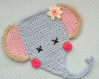 Crochet pattern - elephant applique - by VendulkaM crochet, digital pattern DIY, pfd