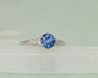 Blue Sapphire Engagement Ring Diamond Accented Art Deco Gemstone Engagement Ring Wedding Ring Anniversary Ring
