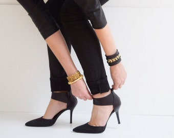 Black Leather Cuff Bracelet with Laced Gold Chain