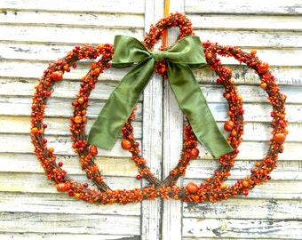 Extra Large Pumpkin Wreath - Fall Wreath - Autumn Wreath - Chevron Wreath - Choose Bow - Quick Ship