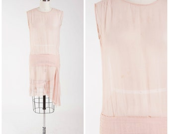Vintage 20s Dress • Within Whispers • Neutral Pink Sheer Silk Chiffon 1920s Dress Size Small