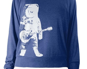 Womens Lightweight Pullover - Astronaut Guitar - Music Sweater - American Apparel Raglan